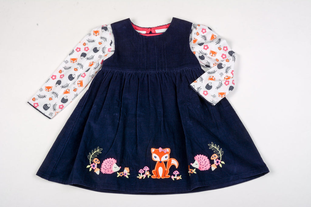 Baby Girls Corduroy Pinafore Set- Woodland - 1-3 Years (K3685)