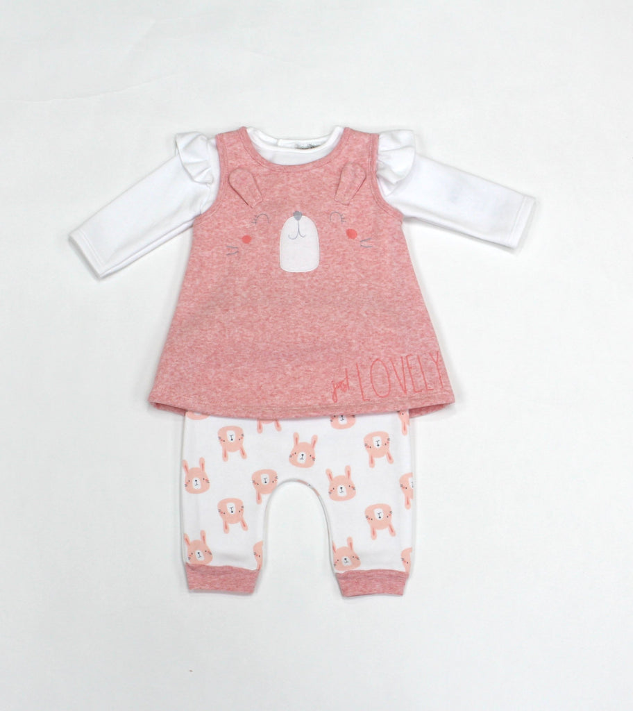 Baby Girls Fleece 3Pc Dress, Top & Pants Set - Bunny - 0-9M (L1055)