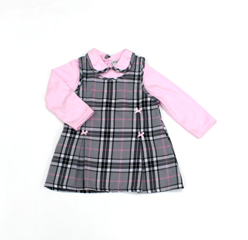 Cotton lined pinafore check dress & Top(12-24MNTH) L3007