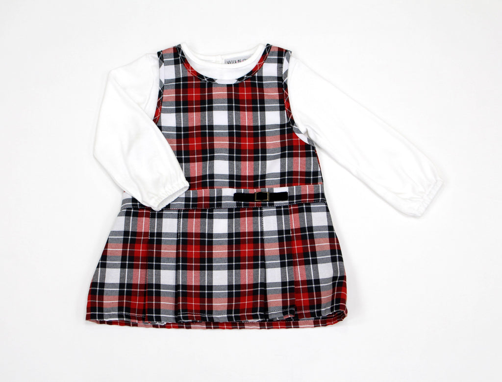 Red/White Pinafore Dress & Top (12-24MNTH) L3009