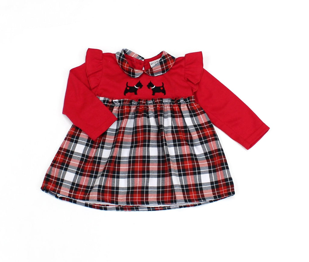 Lined Girls Red Check Dress (12-24MNTH) L3014