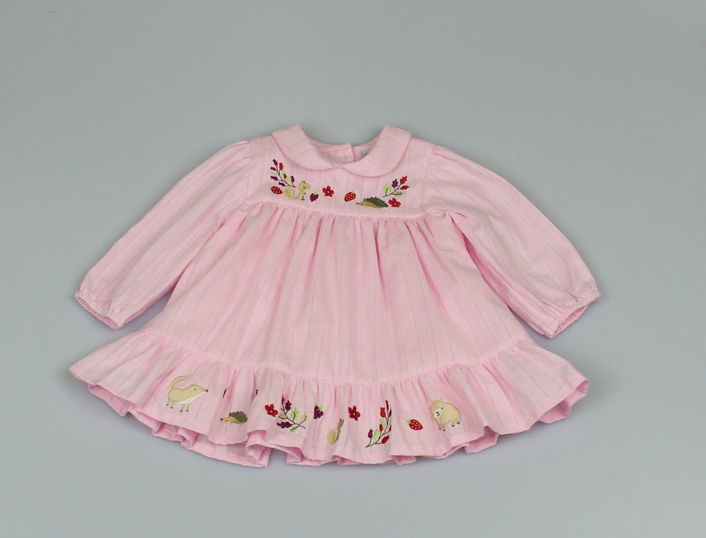 Girl Pretty Pink Dress - Embroidered (12-24 MONTHS) M3508