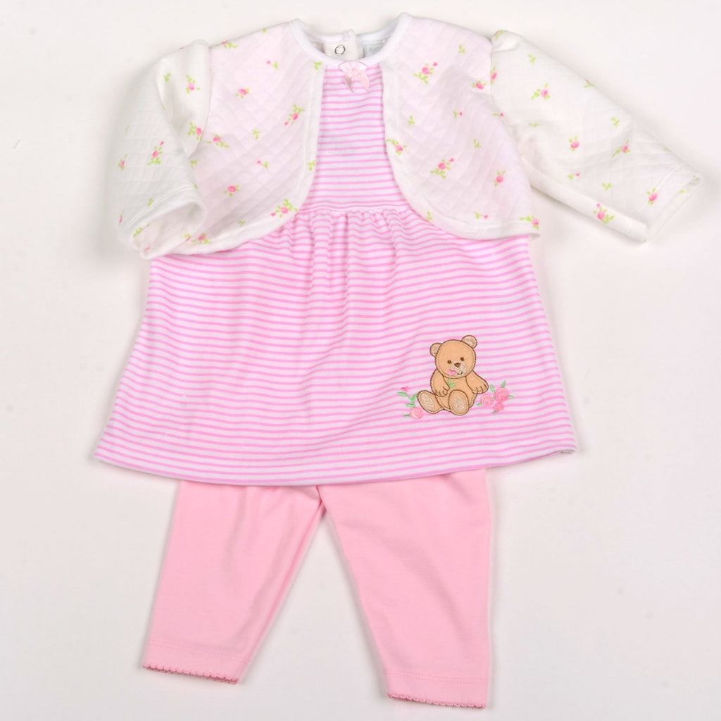 Baby Girls 2Pc Quilted Legging Set - Teddy - NB-6 Months (Y1819)