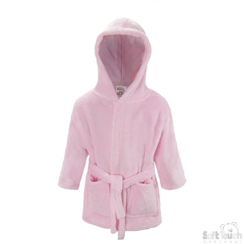 PLAIN PINK CORAL FLEECE HOODED ROBE: FBR21-0-6-To 24 Month-4FBR21