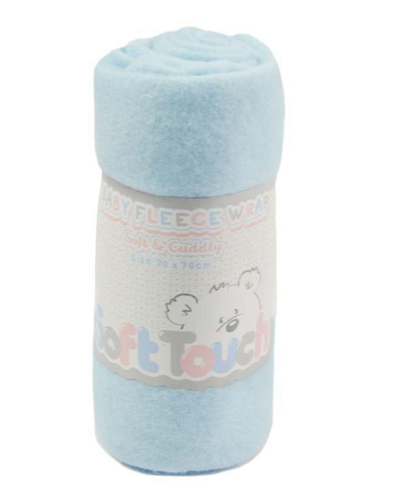 PLAIN BLUE FLEECE BABY WRAP (BULK PACK) FBP04-B