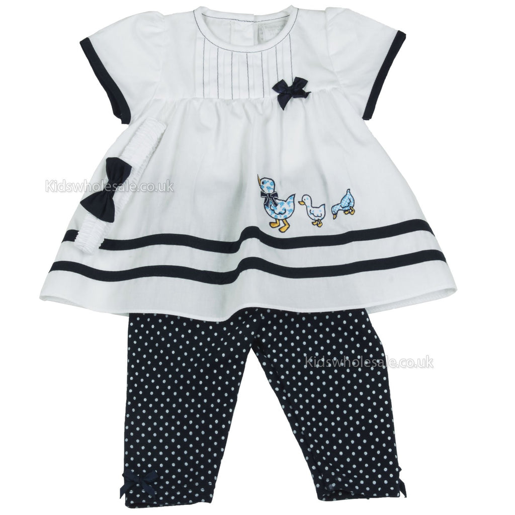 Baby Girls 3pc Legging Set - Ducks - 0-9M (G1259)