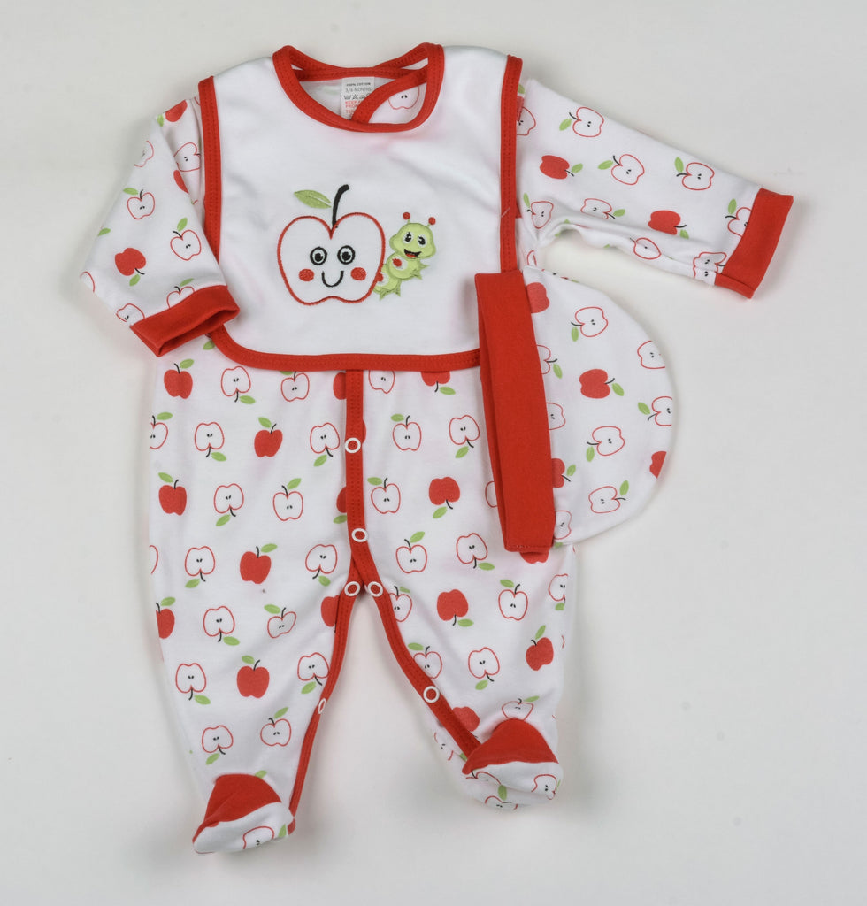 Baby 3Pc Layette Gift Set - Red Apple - 0-9 Months (G1388)