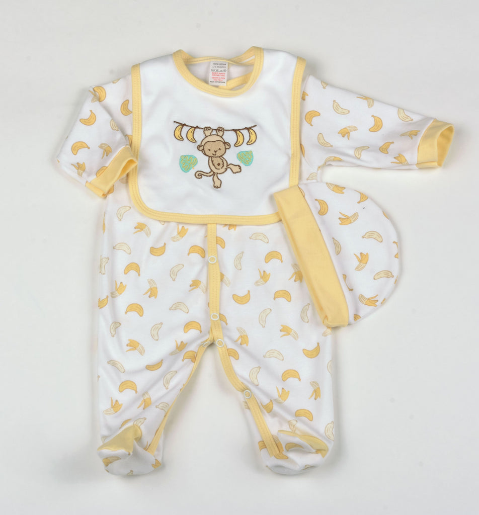 Baby 3Pc Layette Gift Set - Monkey - 0-9 Months (G1391)