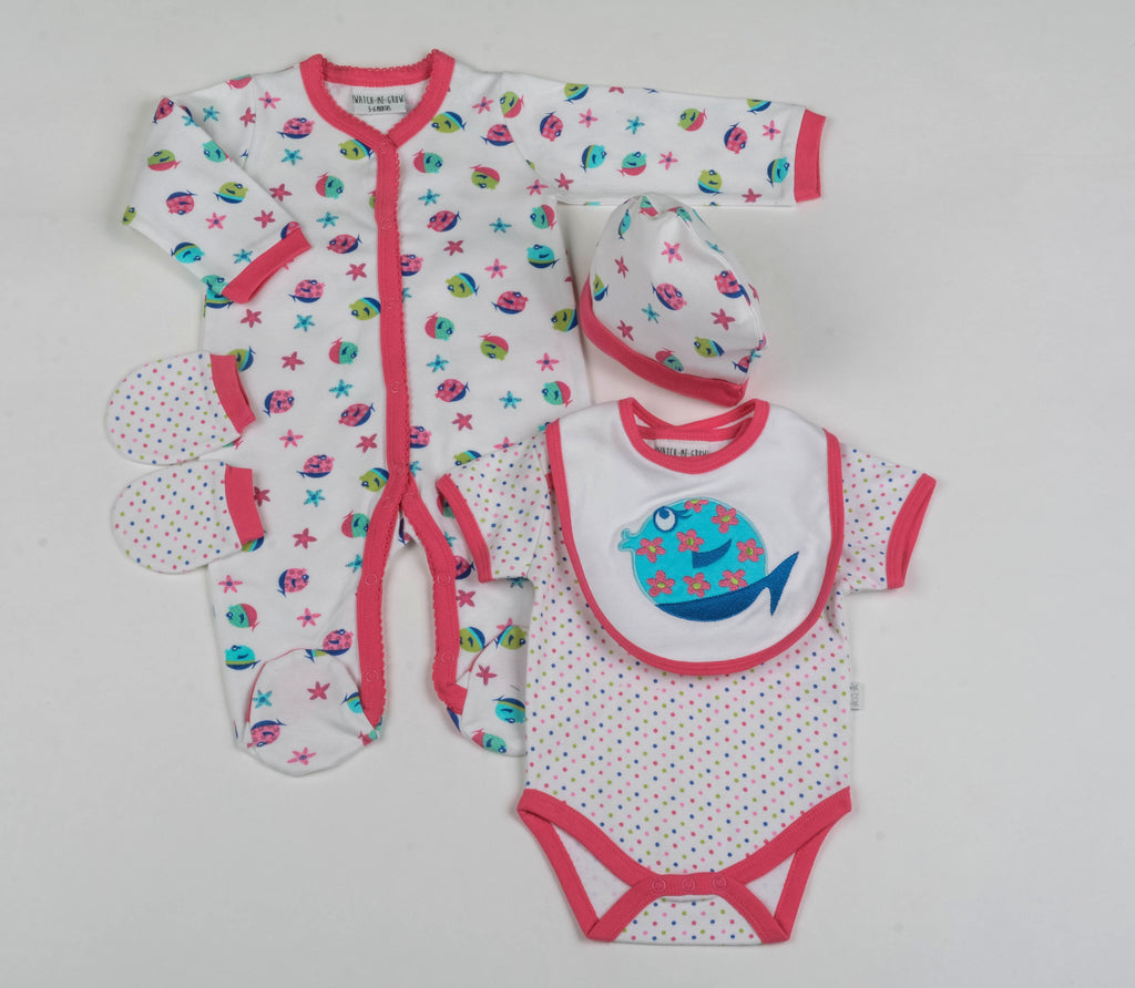 Baby 5Pc Layette Gift Set - Fishes - 0-9 Months (G1466)