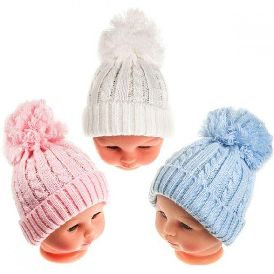 Small Winter Pom-Pom Hat 0-12 (H470-SM)