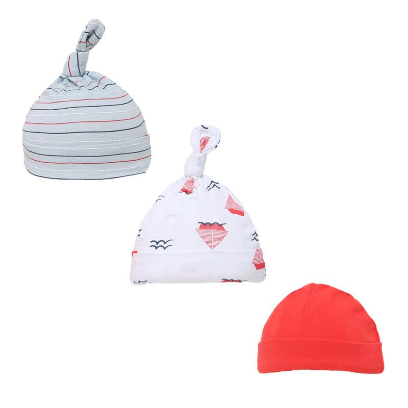 BOYS 3 PACK NAUTICAL HATS (0-9 MONTHS) H57