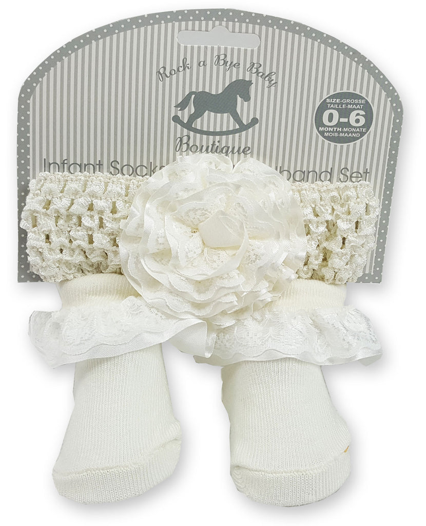 Baby Girls Socks and Headband Set-h9083