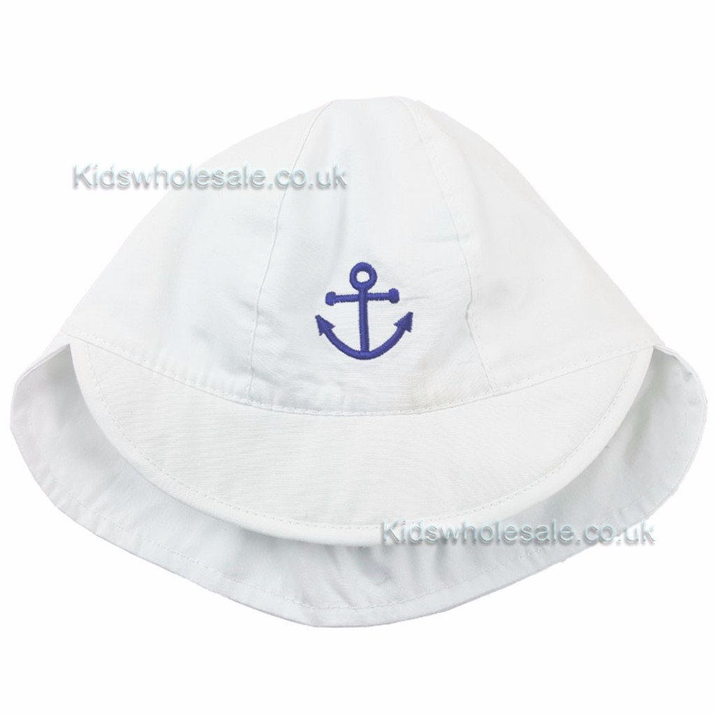 Boys White Anchor Hat 44cm-48cm (H9439)