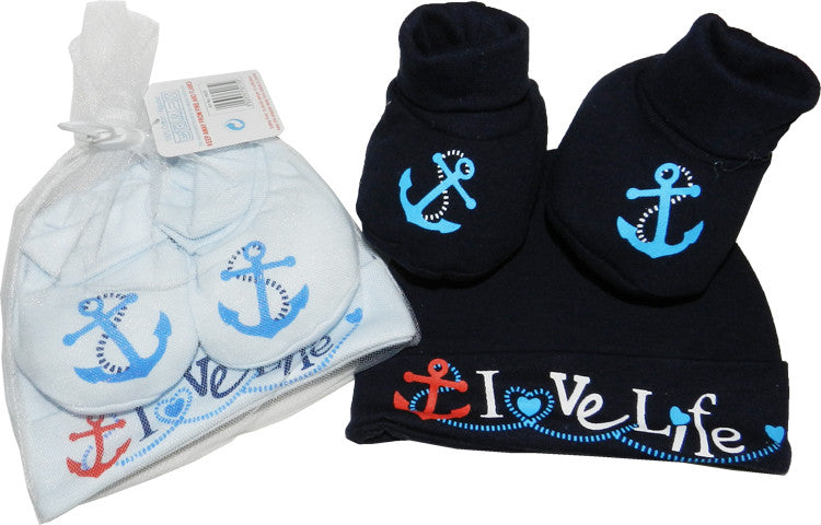 'I Love Life' Hat & Bootee Gift Set