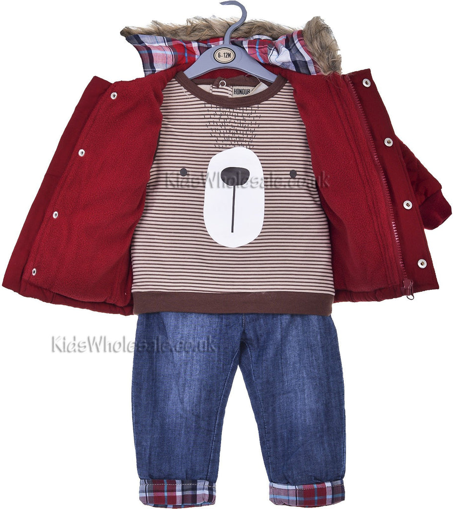 Baby Boys 3pce Jacket, Top & Jeans Set (6-24 Months)(j10213A)