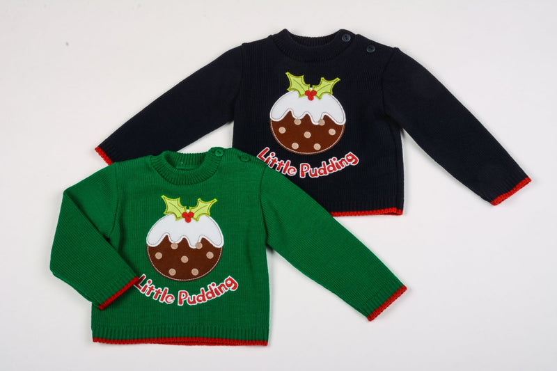 Baby Christmas Jumper - Little Pudding - 12-24 Months (K3583) - Kidswholesale.co.uk