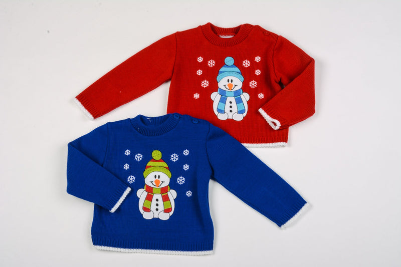 Baby Christmas Jumper - Snowman - 0-9 Months (K1584) - Kidswholesale.co.uk
