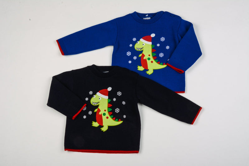 Baby Christmas Jumper - Dino - 0-9 Months (K1590) - Kidswholesale.co.uk