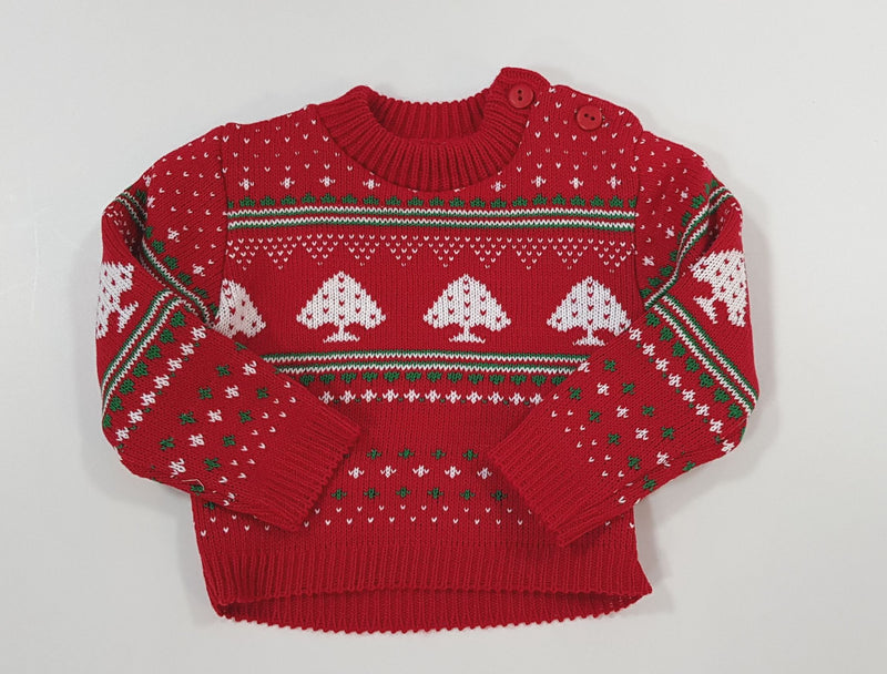 Baby Christmas Jumper - Festive Red - 0-9 Months (K1594) - Kidswholesale.co.uk
