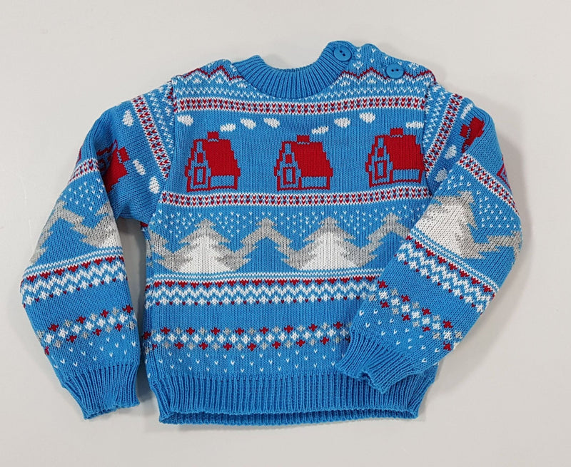 Baby Christmas Jumper - Festive Blue - 0-9 Months (K1598) - Kidswholesale.co.uk