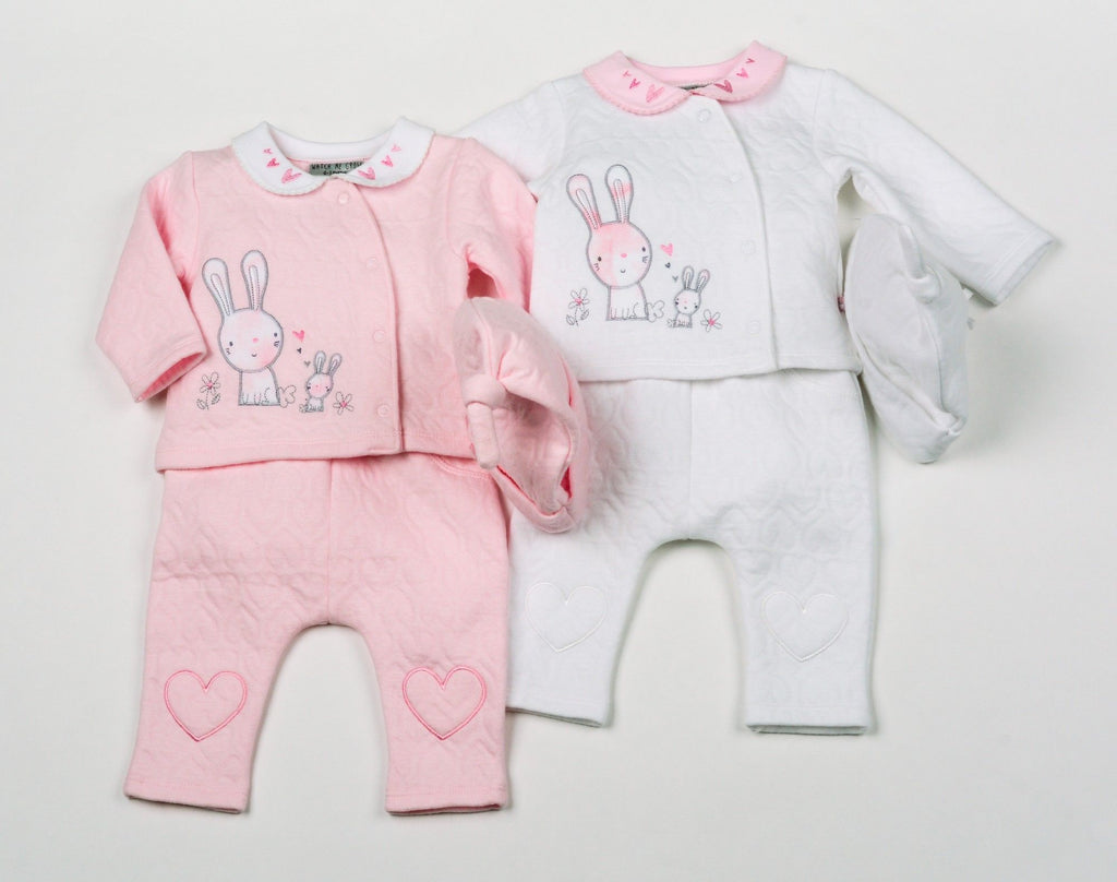 Baby Girls Cotton Rich Quilted Jacquard 3Pc Set w/Hat - Bunny - NB-6 (H1951)