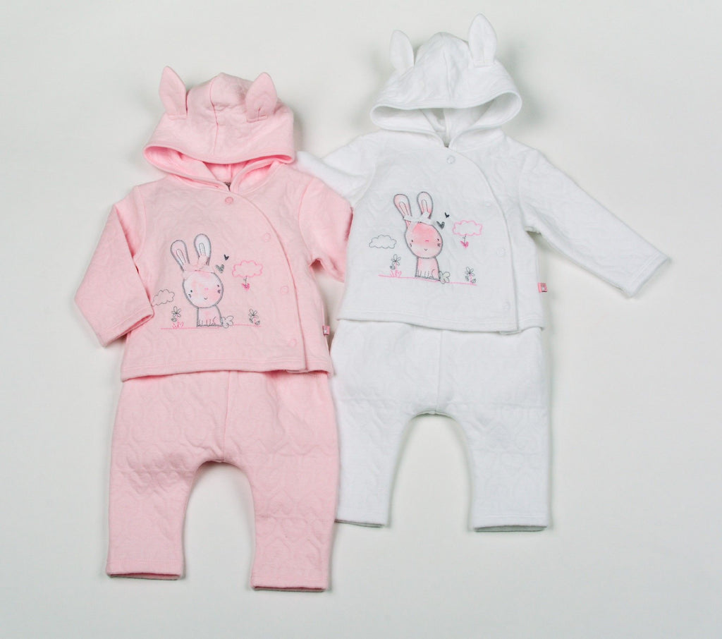 Baby Girls Cotton Rich Quilted Jacquard 3Pc Hooded Set - Bunny - NB-6 (H1952)