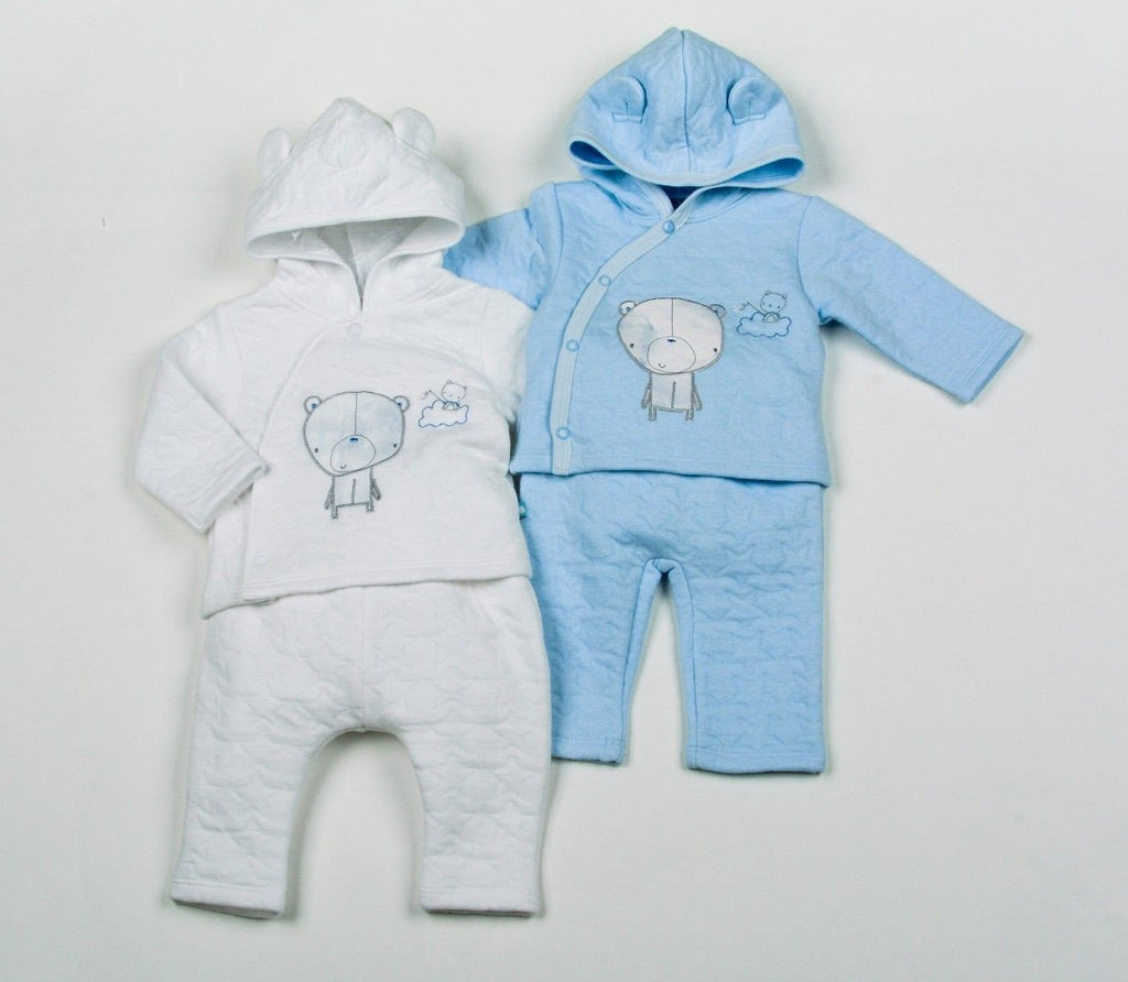 Baby Boys Cotton Rich Quilted Jacquard 3Pc Hooded Set - Teddy - NB-6 (H1956)
