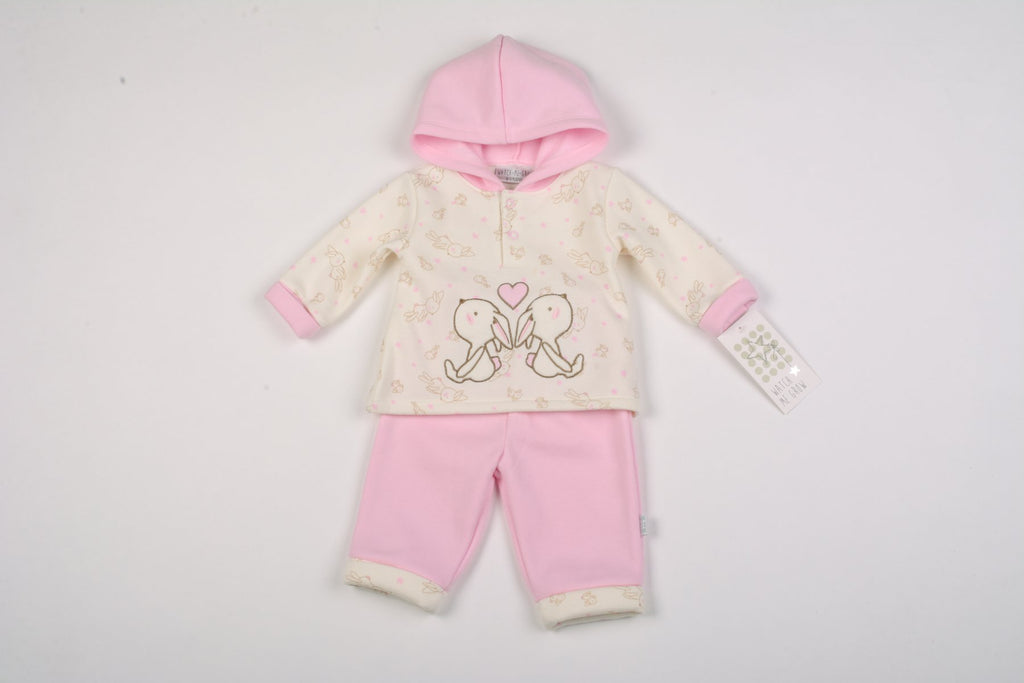 Baby Girls 2Pc Fleece Hooded Top Set - Bunny - NB-6 Months (K1608)