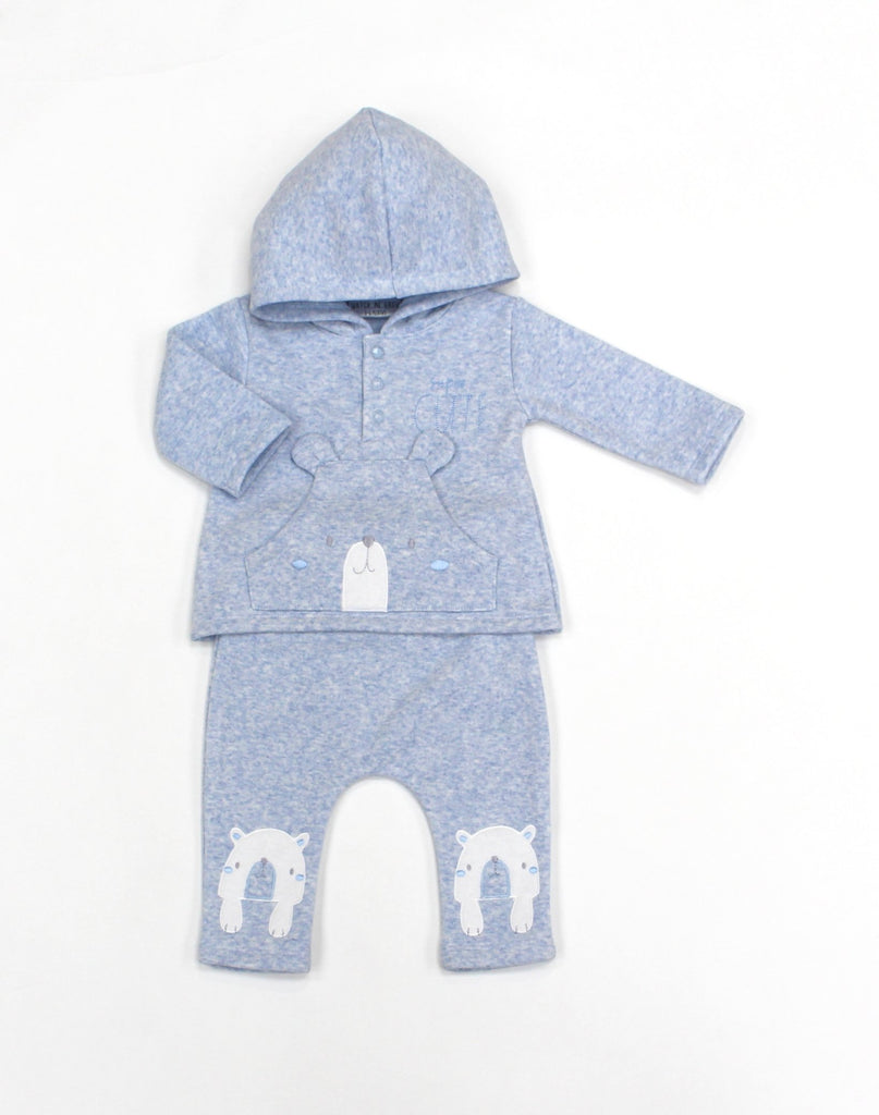 Baby Boys Fleece 2Pc Hooded Top & Pant Set - Bear - 0-9M (L1053)