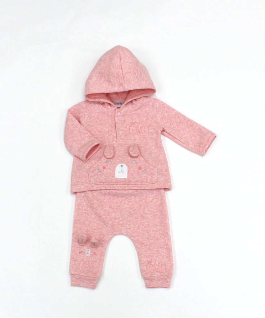 Baby Girls Fleece 2 Pc Hooded Top & Pants Set - Bunny - 0-9M (L1057)