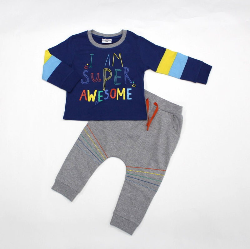 Infant Boys Top & Pants Jog Set- Awesome - 1-3 Years (L3185) - Kidswholesale.co.uk