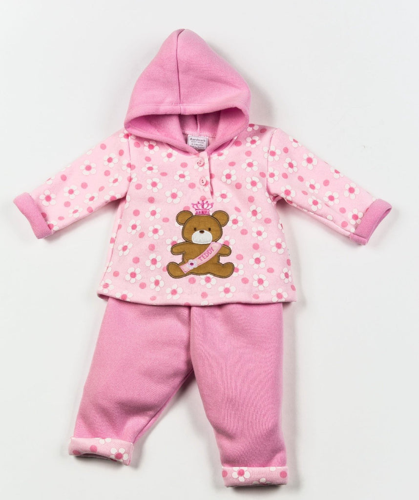 Girls 2 Pcs Hooded Jacket Set - Teddy - NB-6 Months (W1629)