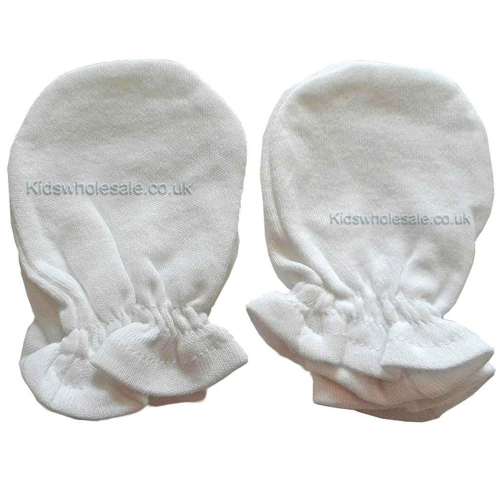 White 2 Pair Scratch Mittens- New Born