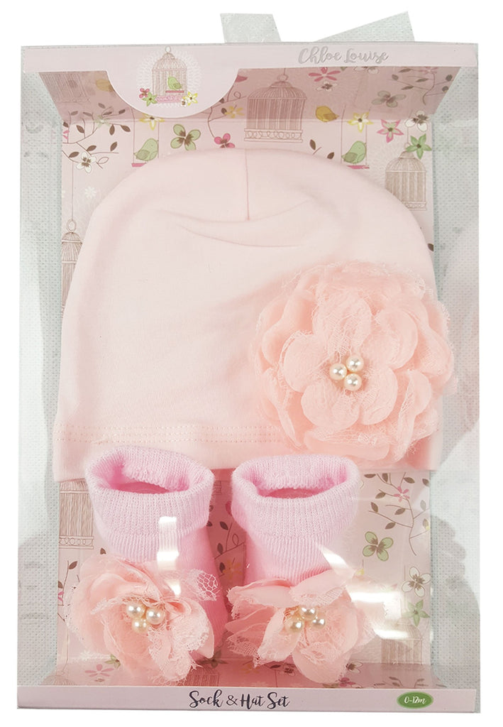 Girls Pink Sock & Hat Set - Flower - 0-12 Months (K11231)