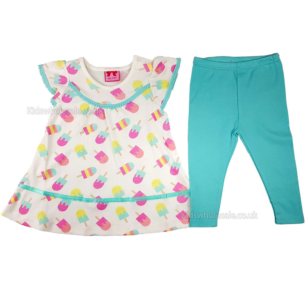 Baby Girls Woven Dress & Legging Set- Ice Cream - 6/24M (K11311)