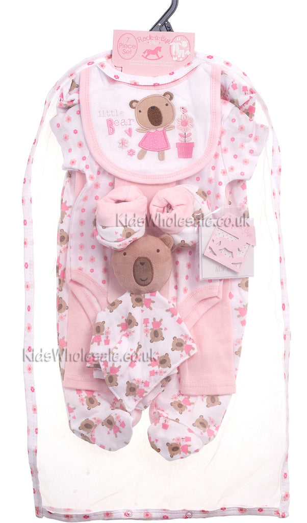 Baby Girls 7Pc Net Bag Gift Set - Little Bear - NB-6 Months (K12859)