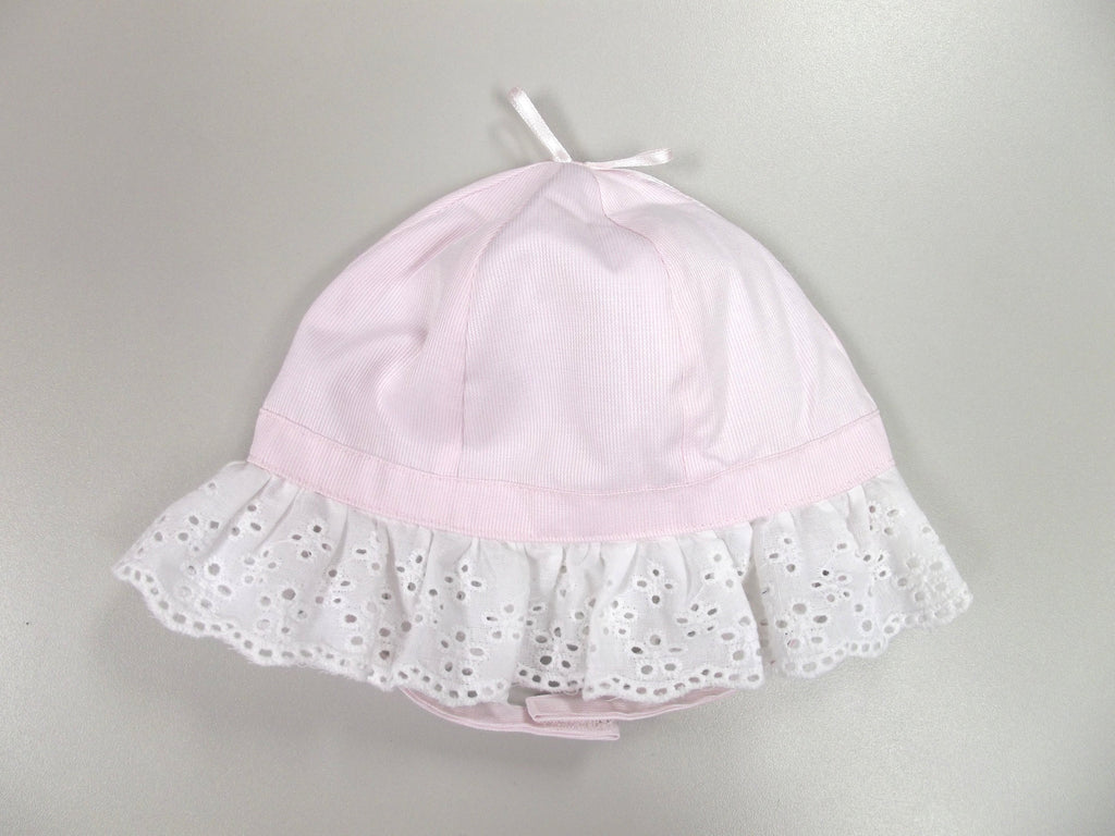 Girl's Bow Top Frill Cloche Hat - Pink - 0/6M (0235)
