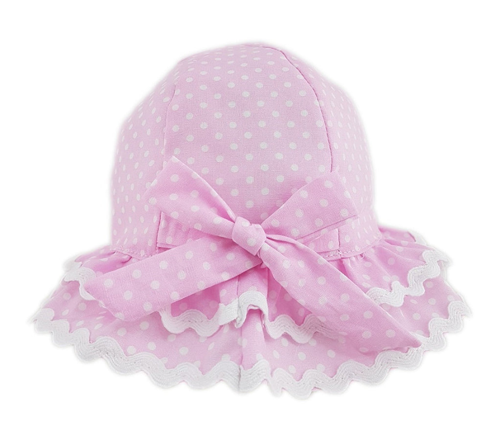 Girls Spotty Frilly Brim Hat With Bow (6-18 Months) 0268