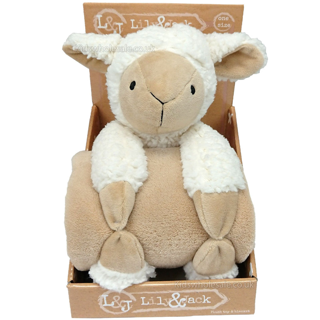 Plush Toy & a Brown Blanket Set - Lamb - (M14178)