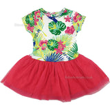 Girls Tutu Fuchsia Dress Set - Flowers - 6/24M (M14525)