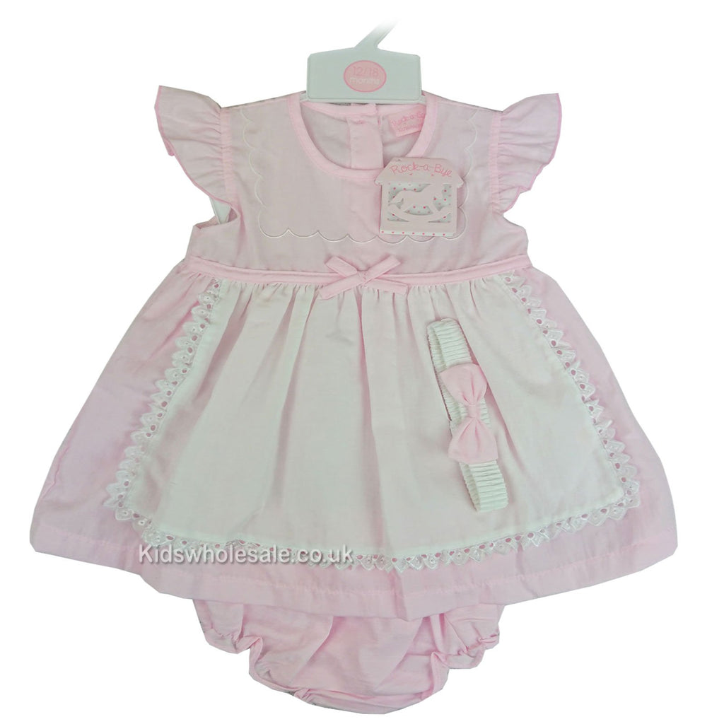 Baby Girls Mock Apron 3pc Dress - Pink - 6-24M (M14680-B)