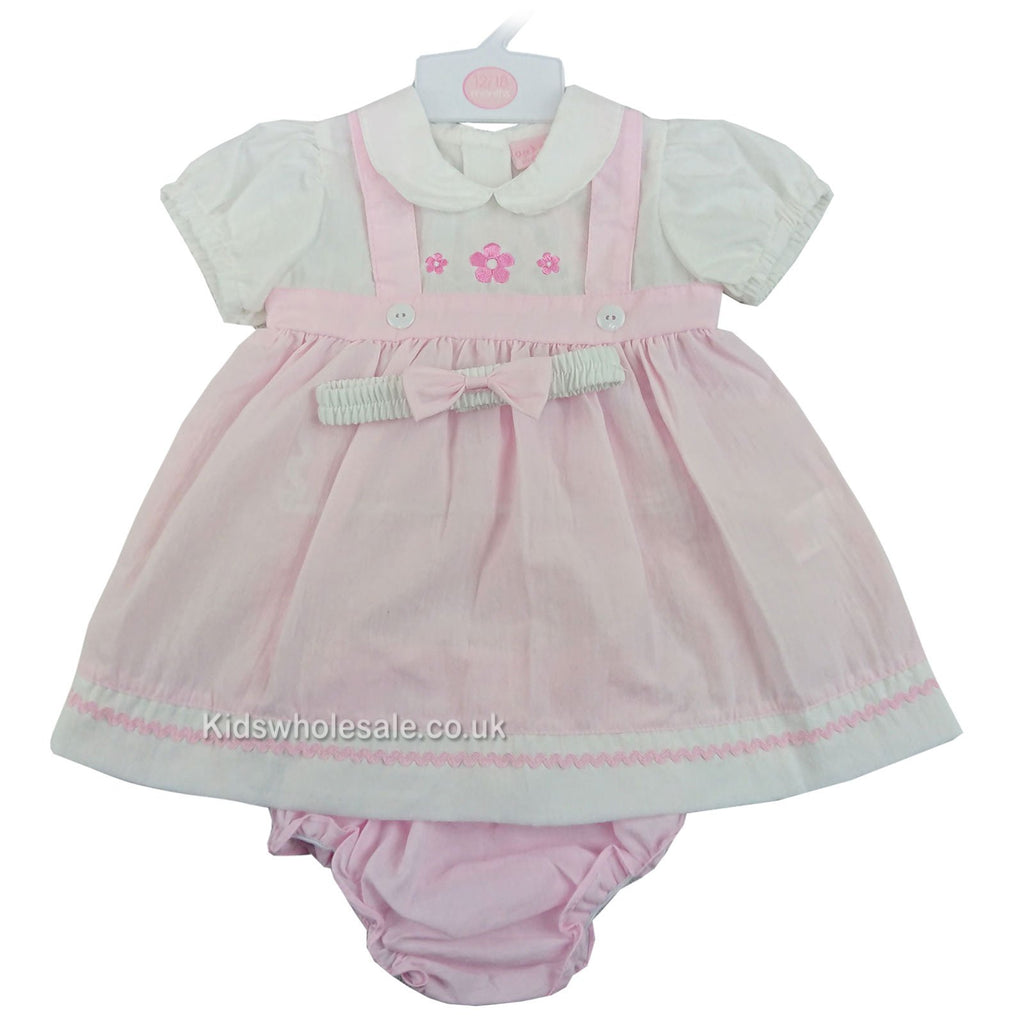 Baby Girls Mock Pinafore 3pc Dress - Pink Flowers - 0-9M (M14681-A)