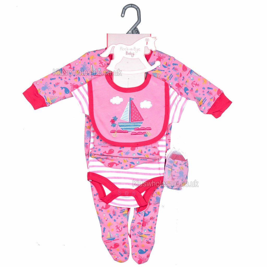 Baby Girls 5Pcs Net Bag Gift Set - Boats - NB-6M (M14711)