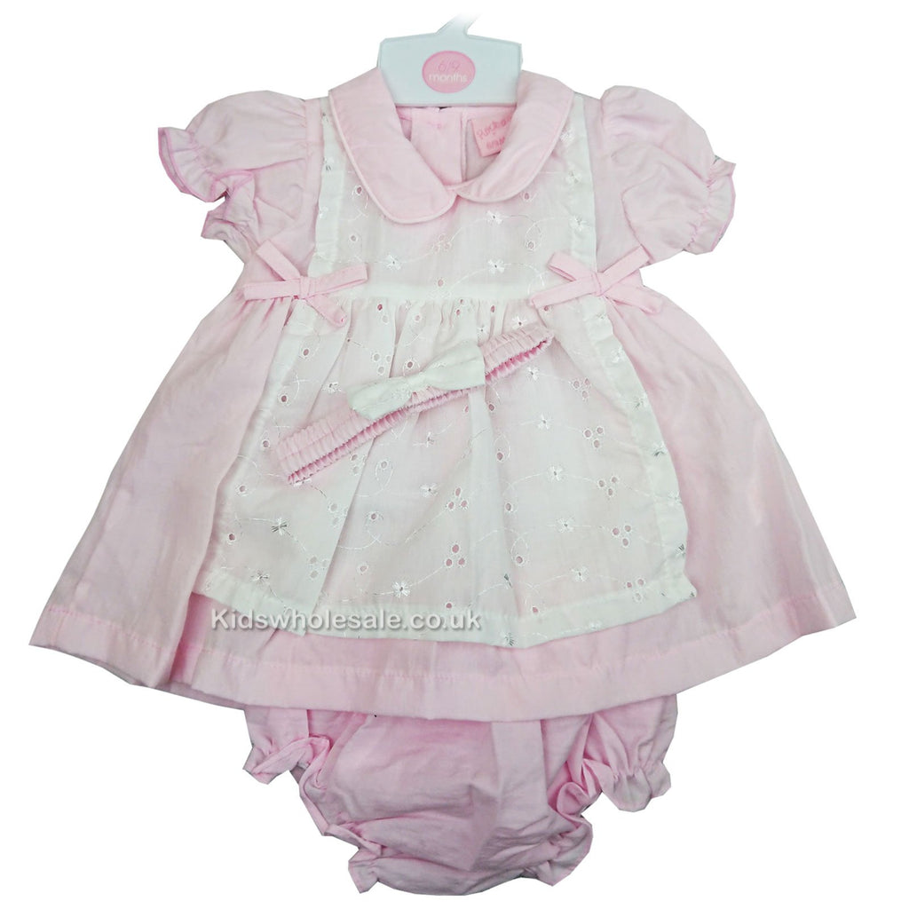 Baby Girls Broderie anglaise 3pc Dress - Pink - 6-24M (M14956-B)