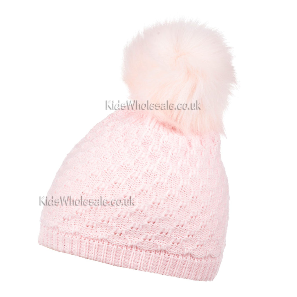 Baby Girls Knit Pom-Pom Hat - Pink - 6-24M (N15804)
