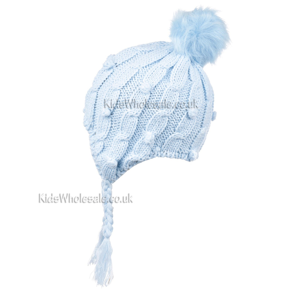 Baby Boys Cable Knitted Hat W/Pom Pom - Blue - 6-24M (N15833)