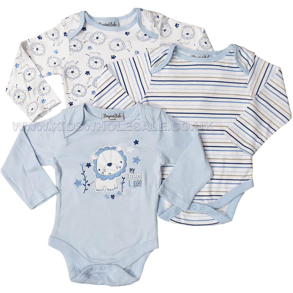 Baby Boys 3 Pack Bodysuits - Lion - 0-9M (N15228)