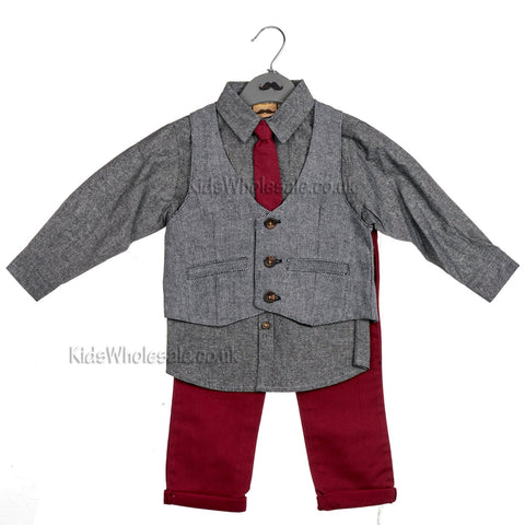 Boys 2Pc Fleece Flannel Shirt Set - Red Check Shirt - 1/3 Years (Y3781)