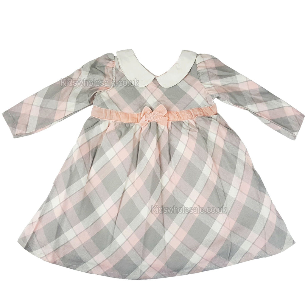 Girls Tartan Check Lined L/S Dress - Pastel Pink - 3-24 Months (N15371)