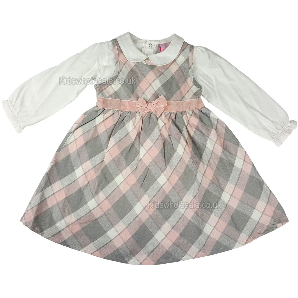 Girls Tartan Lined L/S Dress - Pastel Pink- 3-24 Months (N15704)